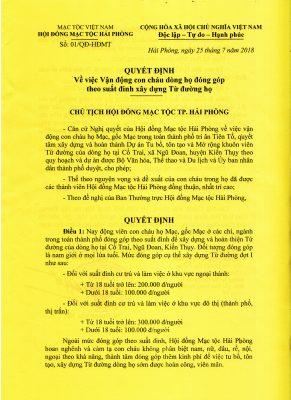 (Tiếng Việt) QUYẾT ĐỊNH CỦA CHỦ TỊCH HĐMT TP HẢI PHÒNG. V/v: VẬN ĐỘNG CON CHÁU DÒNG HỌ ĐÓNG GÓP THEO SUẤT ĐINH XÂY DỰNG TỪ ĐƯỜNG HỌ.