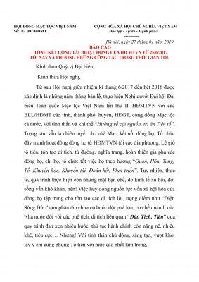 (Tiếng Việt) BÁO CÁO TỔNG KẾT CÔNG TÁC HOẠT ĐỘNG CỦA HỘI ĐỒNG MẠC TỘC VIỆT NAM  TỪ 25/6/2017 TỚI NAY VÀ PHƯƠNG HƯỚNG CÔNG TÁC TRONG THỜI GIAN TỚI.